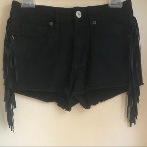 Kendall & Kylie Black Tassle Shorts